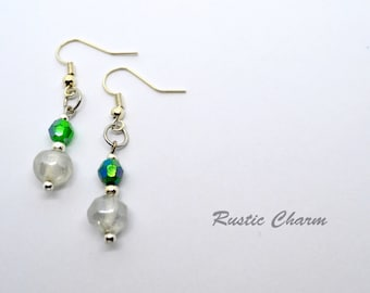 Green and Clear Glass Beaded Hook Earrings with Silver Accents
