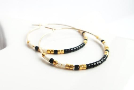 Creoles beads black and white, elegant, quality minimalist 14-Karat GOLD plated rings thin delicate woman