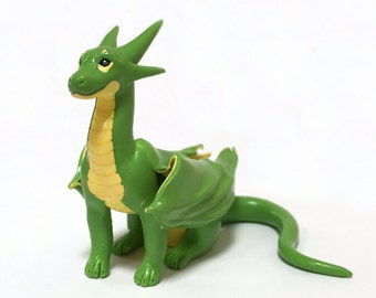 Polymer Clay Dragon in Green and Yellow, OOAK Collectable Dragon Figurine