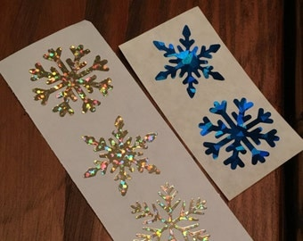 Snowflake Stickers / Holographic Snowflake Stickers / Christmas Sticklers/ Winter Stickers / Snowflake Stationary / Winter Envelope Seals