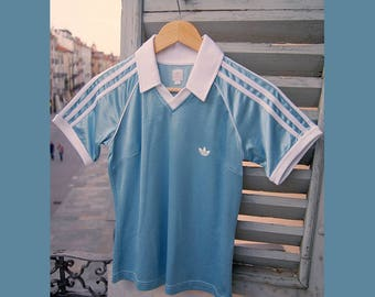 Vintage football tee by Adidas, size 42 light blue satin, 80s 90s