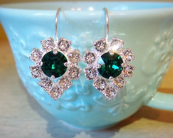 Silver Sparkly Dangle Earrings, Emerald Dangle Earrings, Christmas jewelry, Sparkly Swarovski Crystals, gifts for her, Dangle and drop
