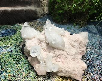 Apophyllite in Pink Druzy Matrix/ Crystal Grid/ Gems and Minerals/ Reiki healing/ Crown Chakra/ Quartz Crystal/ Aura Quartz/ Altar/ Shrine