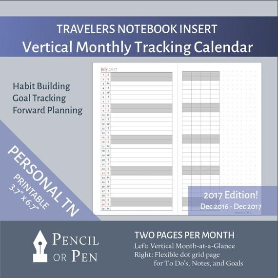 Traveler S Notebook Calendar Inserts : Sale vertical monthly calendar insert with tracker