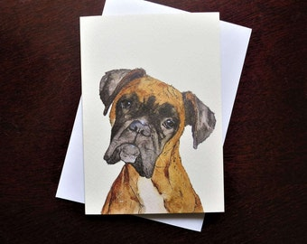 Boxer Dog A6 Blank Greetings Card