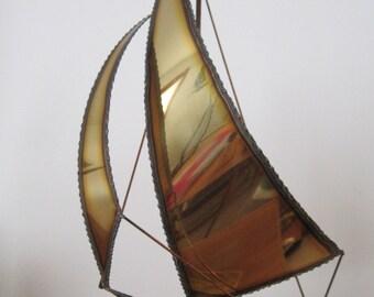 Brass Sailboat Sculpture, Mario Jason, Torch Cut, Metal Sculpture, Nautical, Vintage