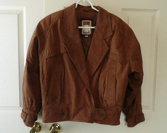 Suede Leather Jacket, Women's Small, 80s Bomber Style, Tawny Brown