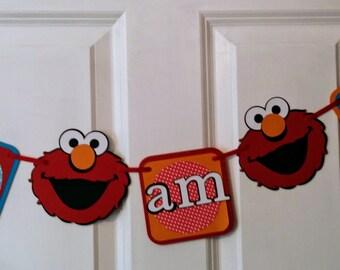 Elmo High Chair Banner, Elmo Banner, I am 1, Sesame Street, Elmo Birthday Party, Smash Cake