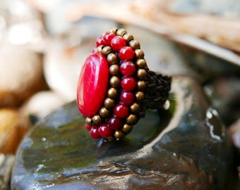 Red Gold Art Beaded Rings braided with Rope I Hand Crafted Fantasy Beads Accessories