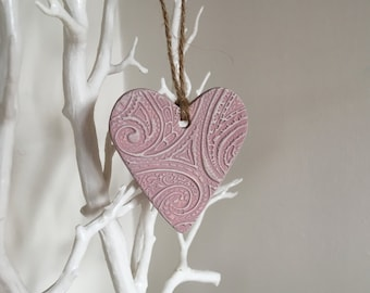 Pink Hanging Heart Decoration - hanging heart, wall hanging, heart decor, heart charm, clay heart, clay decoration, handmade gift