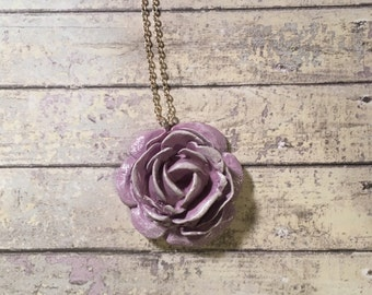 Purple Flower Necklace - statement jewellery, statement pendant, botanical pendant, flower pendant, flower jewellery, floral jewellery
