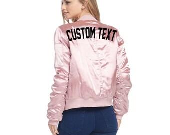 WOMENS CUSTOM Pink Cargo Oversized Bomber Jacket- Long Sleeve Zip Up Pink Bomber Jacket- Classic Personalize Bomber Jacket- Custom Text