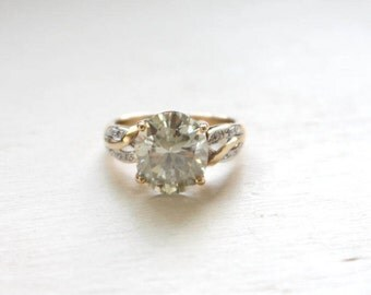 Huge Oval Moissanite in 9K Yellow and White Gold Ring with 10 Natural Diamonds, Engagement Ring, Statement Ring