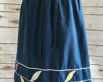 Blue Cotton Skirt // Vintage 1970's Sanible Sport