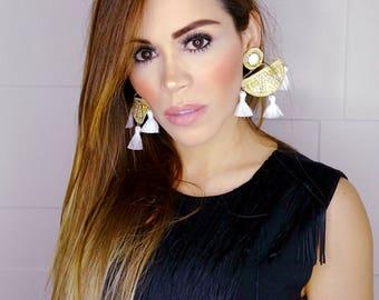 White Tassel Earrings, Geometric Earrings, Boho Etnic Earrings, Threader Earring, Large earrings, Wholesale Earrings, Boho Ethnic,White Gold