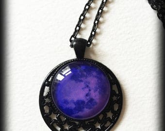 Purple Moon Necklace, Celestial Jewelry, Gothic Witch Wicca Pagan Pendant, Glass Cameo, Alternative Jewelry, Gothic Jewelry Gift For Her