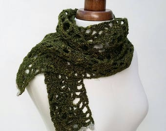 Crochet scarf in olive green, silk wool scarf, winter scarf, lacy autumn or spring scarf, women's scarf