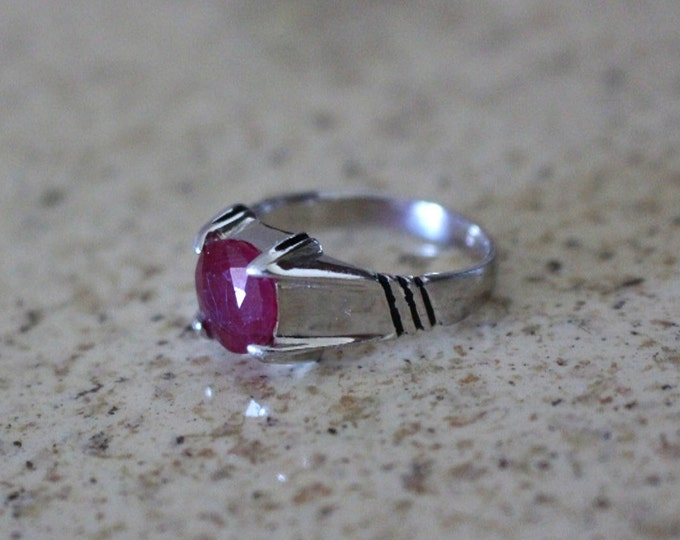 Ruby Ring Mens 925 Sterling Silver Authentic Gemstone Size 10 US
