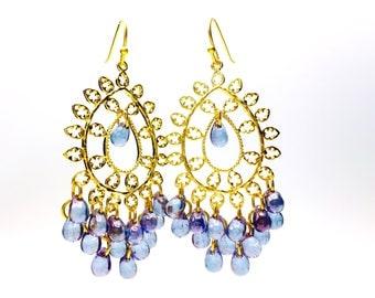 Purple Beaded Chandelier Earrings, Dangle Earrings, Boho Earrings, Tear Drop Earrings, Chandelier Earrings, Purple Gold Beaded Earrings