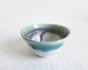 vintage studio pottery bowl / white ceramic bowl with turquoise blue green & pink drip glaze
