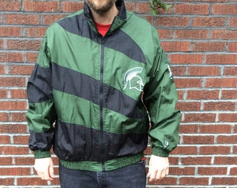 Vintage 90's Michigan State Spartans Pro Player Windbreaker XL