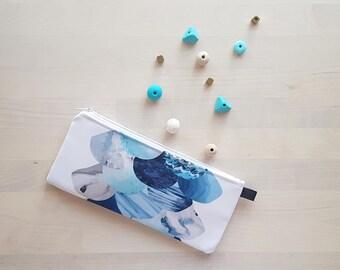 Fishscales / Scallops Pencil Case / Makeup Case in Blue