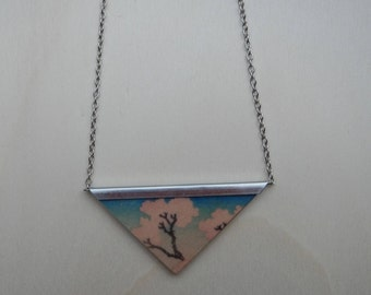 Necklace, Japan, cherry blossom, Katsushika Hokusai, Fotopotch, triangle