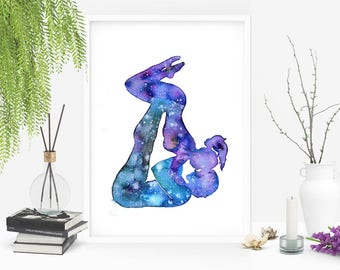 Interstellar Acro yoga pose. Printable Acroyoga wallart for you and your partner. The Yoga collection 2017. 29,7x42cm (11.69 x 16.53 inches)