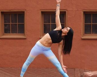 Blue Ombre Yoga Leggings, Womens Leggings Blue, Yoga Clothing, Workout Leggings, Blue Leggings, Yoga Pants, Barre Pants, Blue Activewear