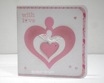 "Handmade wedding, anniversary, card ""With Love"""