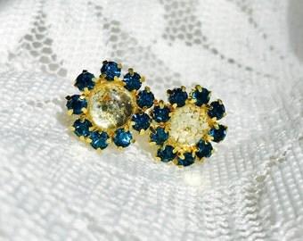 Turquoise and Gold Rhinestone Stud Earrings