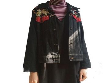 SALE!!!!Vintage Dal Unique Palm Tree Black Jacket: Bohemian Style Jacket