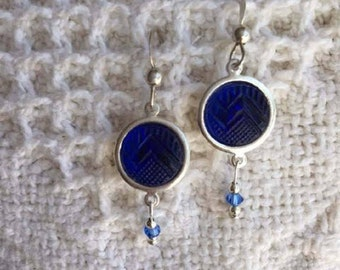 Upcycled Button Earrings with Vintage Blue Glass Buttons-Vintage Style Earrings-Repurposed-Unique Earrings-Button Jewelry-Sterling Silver