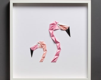 Paper Art: Flamingos