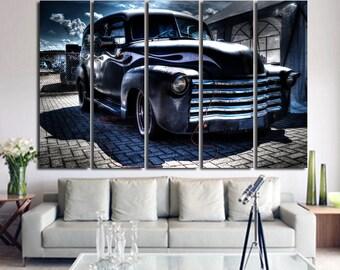 Hot Rod Wall Art Multi Panels Set Retro car Art Cars Canvas Art Muscle Cars Wall Art Retro Print Poster