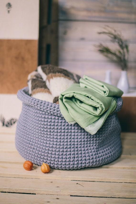 Gray basket/ Laundry basket/ laundry hamper/ Handmade basket/ Storage basket/ Crochet storage basket/ Crochet rope basket/ Storage bin