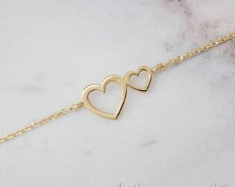 SUMMER SALE, Two Heart Bracelet, Gold Heart Bracelet, 9K Gold Bracelet, Yellow Gold, Double Heart Bracelet, Gift For Her, Dainty Bracelet