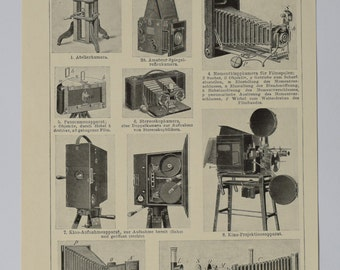 1906 - Photography, an original antique print from 1906, a lithography representing vintage cameras and tips about photography.