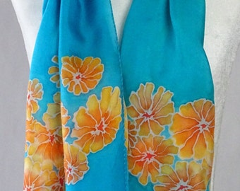 Hand painted silk scarf, orange & turquoise ,orange flowers, handmade, handpainted turquoise silk scarf. floral scarf, orange floral  scarf