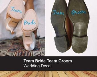 Team Bride Team Groom wedding shoe sticker - Bride Groom decal - Heel shoe - Couple