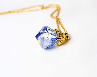 blue necklace terrarium jewelry resin necklace grandmother gift mom blue gold jewelry crystal necklace floral necklace gifts cornflower Р1