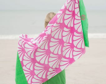 Monogrammed Shelly Beach Towel..Vibrant Beach Towel..Personalized Beach Accessory