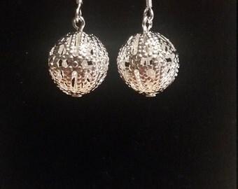 Silver Round Dangle Earrings