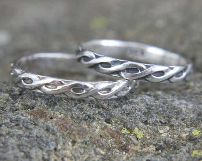 Sterling Silver Infinity Stacking Ring, Embossed Celtic Pattern, Simple Thin Band, Dainty Ring, Gift for Him or Her, Mens or Ladies Jewelry