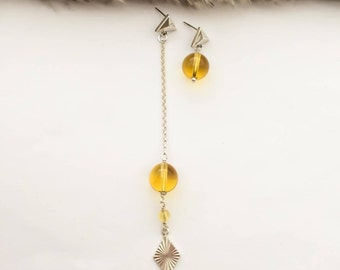 Gemstone Earrings, Birthstone Earrings, Citrine Earrings,  Long Earrings, Statement Earrings, Dangle Earrings, Yellow Earrings, Gift for her