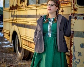 Peter Pan Collar Circle Skirt Dress, Rockabilly Dress, Retro Dress, Pinup Dress, Full Skirt Dress, Fit and Flare Dress, Plus Size Pinup