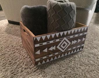 Wooden Crate with Aztec Design - Storage Crate