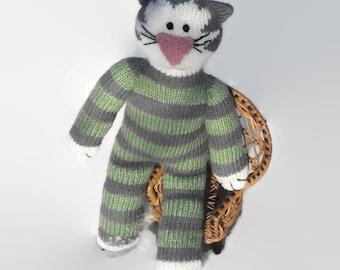 Knit Cat Striped Cat Stuff Cat Kitty Cat Unique Cat Handmade Cat Charm Stuff Animal Amigurumi Crochet Cat Handmade Knit Cat cat lover gift