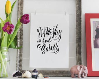 Namastay in Bed All Day - A4 Hand-lettered Art Print - Yoga Typography Poster - Namaste Artwork