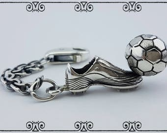 Silver Keychains Football. Soccer ball and Football Buts  silver 925